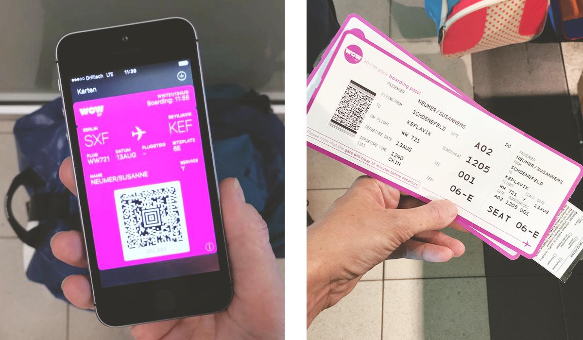 Zero Waste auf Reisen E-Ticket und Boardkarte